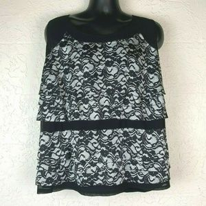Alfani Blouse Plus 3X Black White Lace Tiered Tank